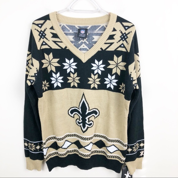 d3a87296 NFL New Orleans SAINTS Ugly Christmas Sweater NWT